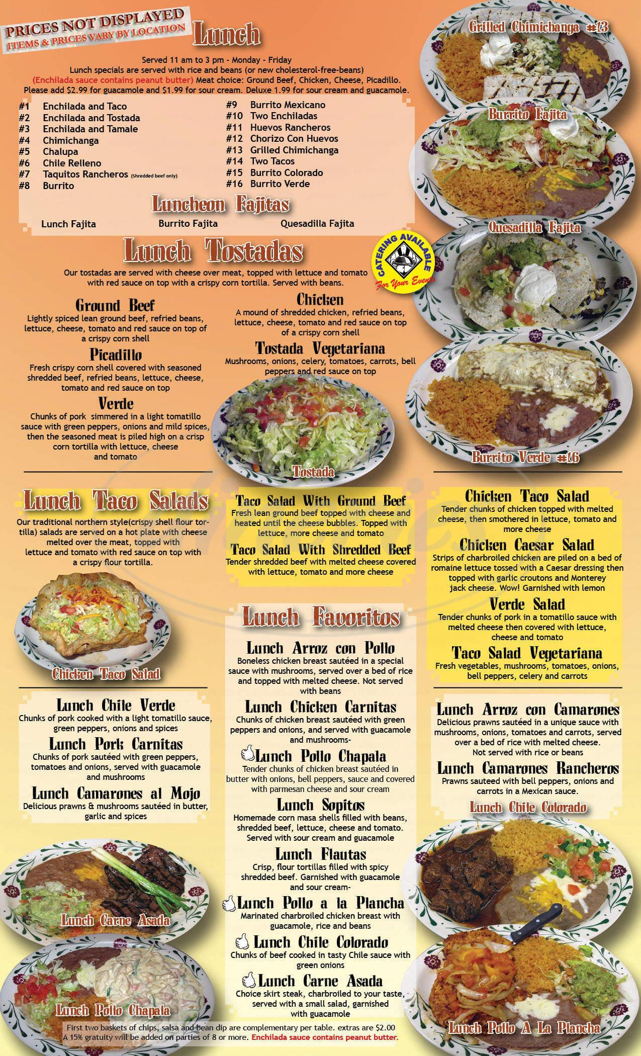 menu for Chapala