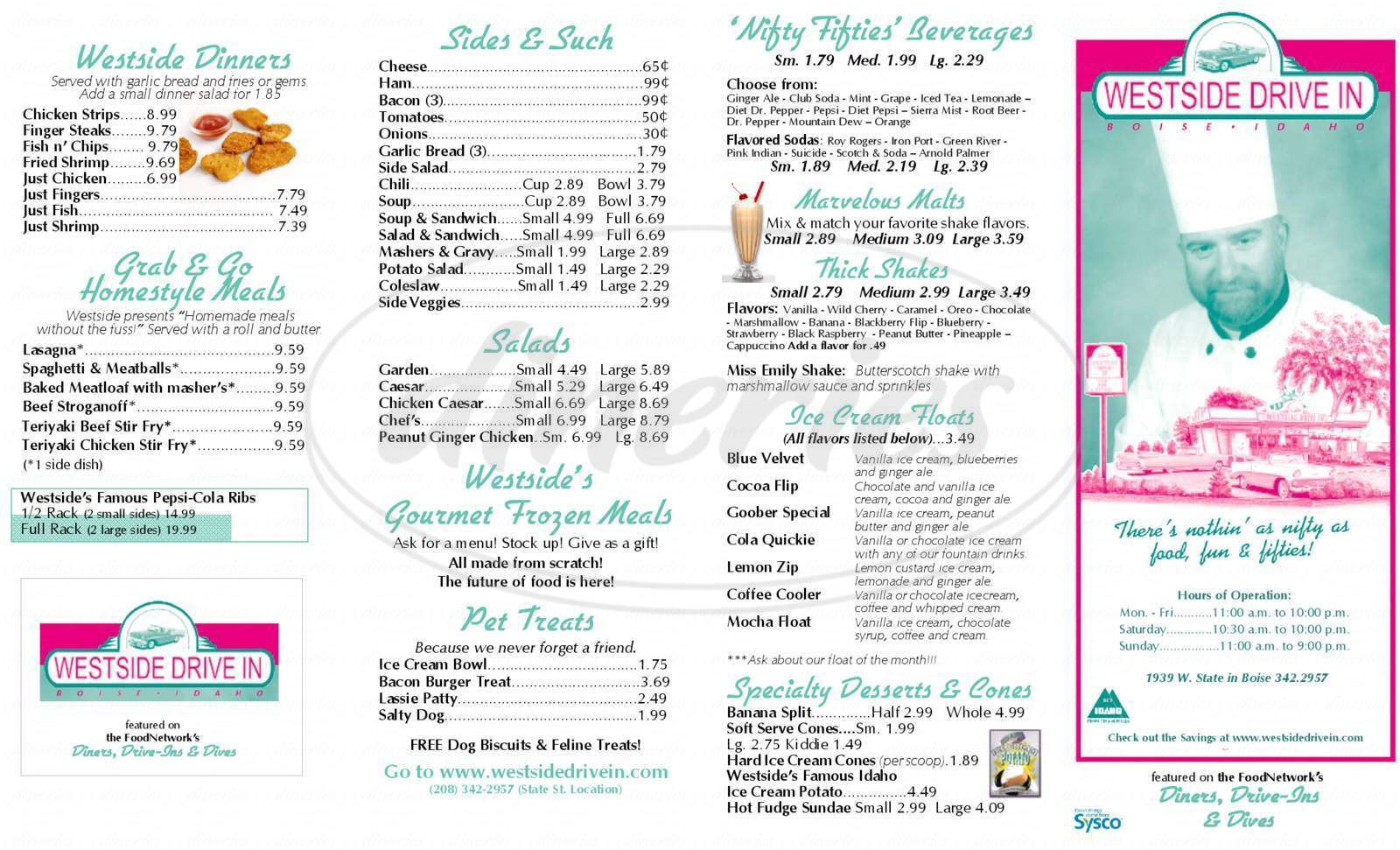 menu for Westside Drive-in