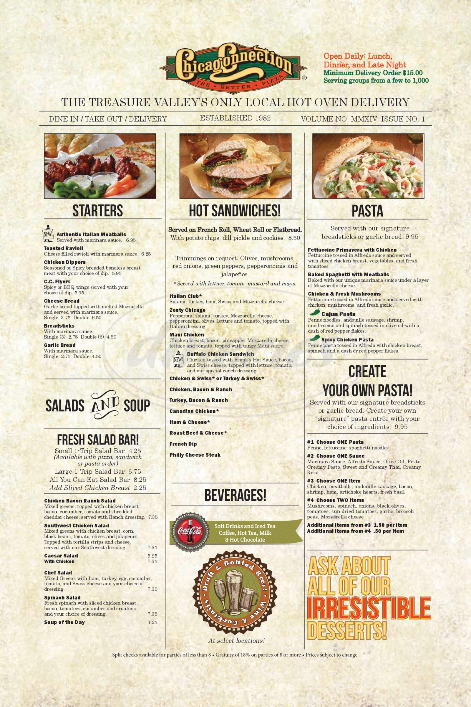 menu for Chicago Connection Pizza