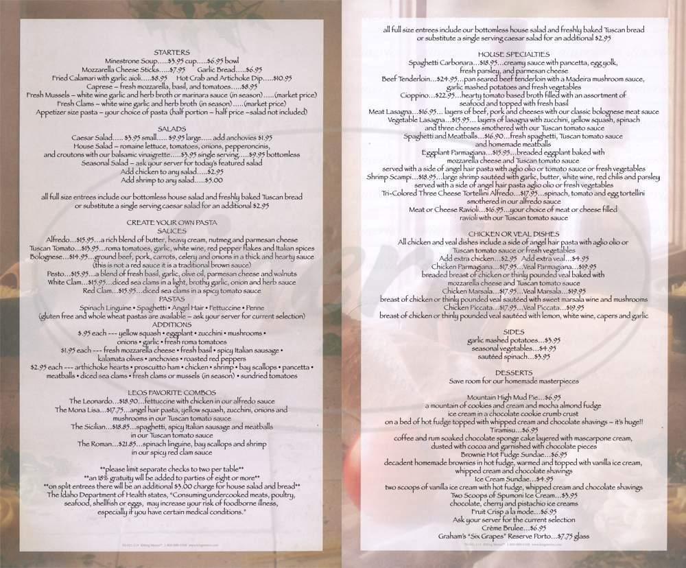 menu for daVinci's
