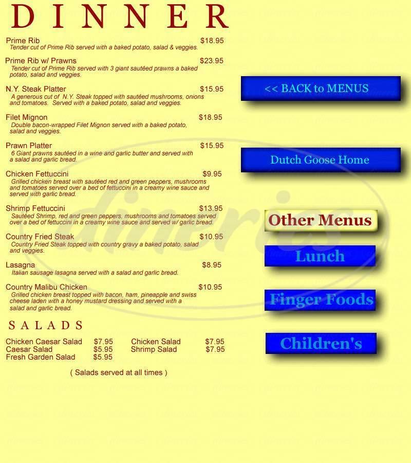menu for Dutch Goose