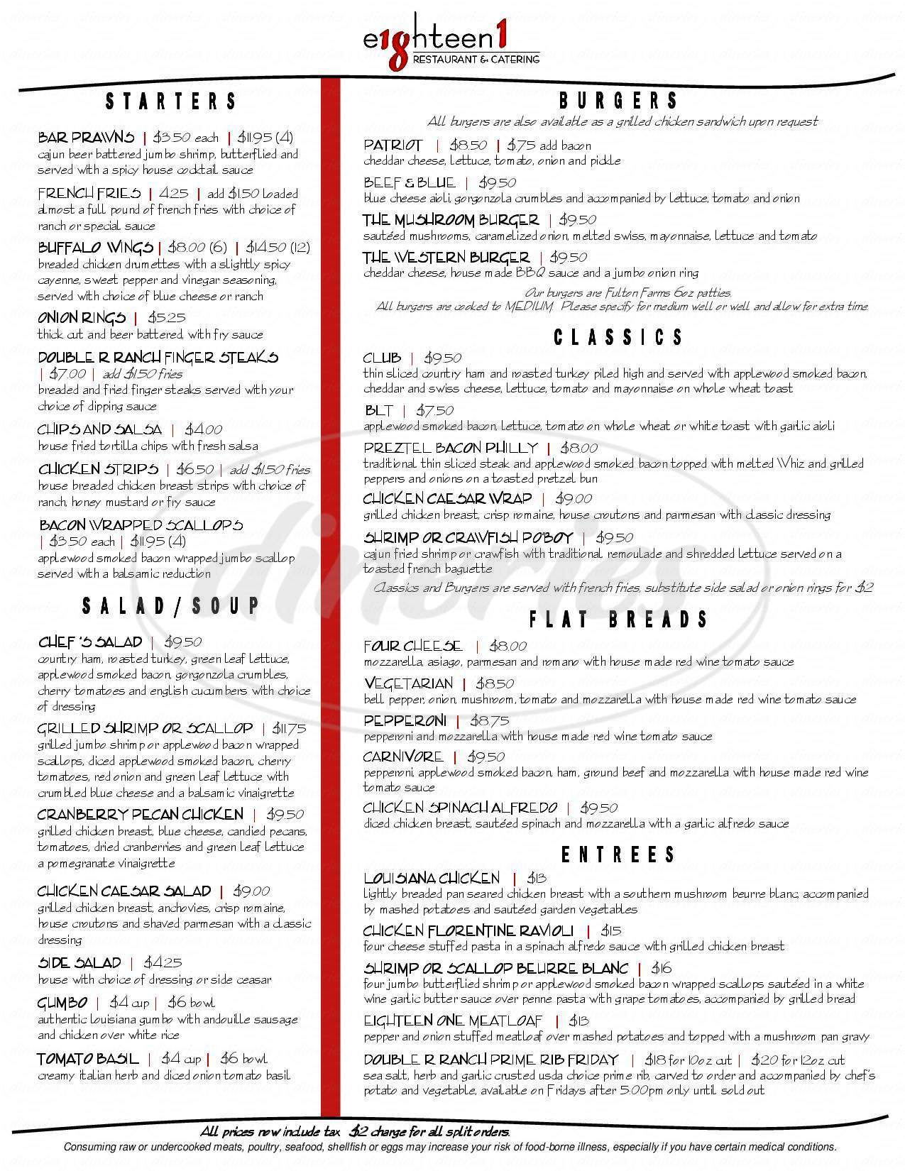 menu for Eagle Hills Golf Course