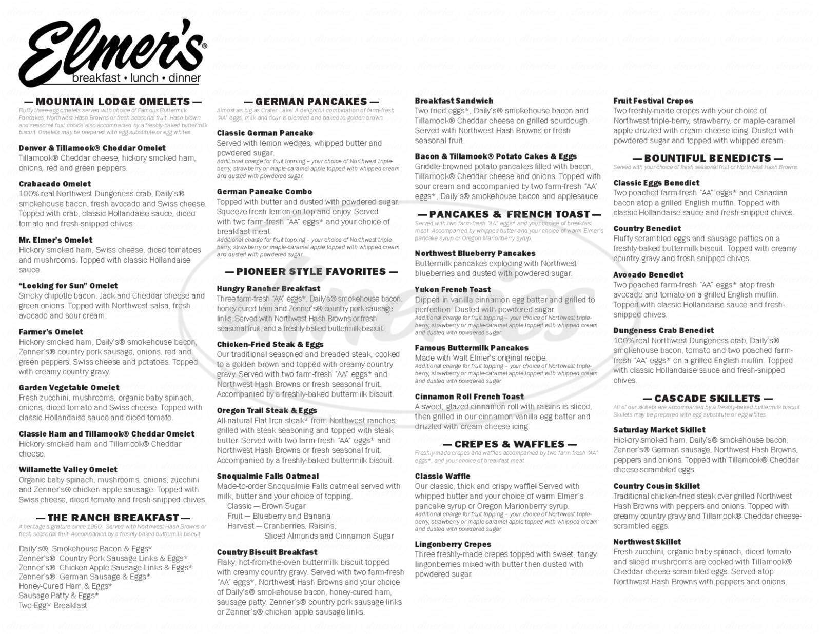 menu for Elmer's Restaurant