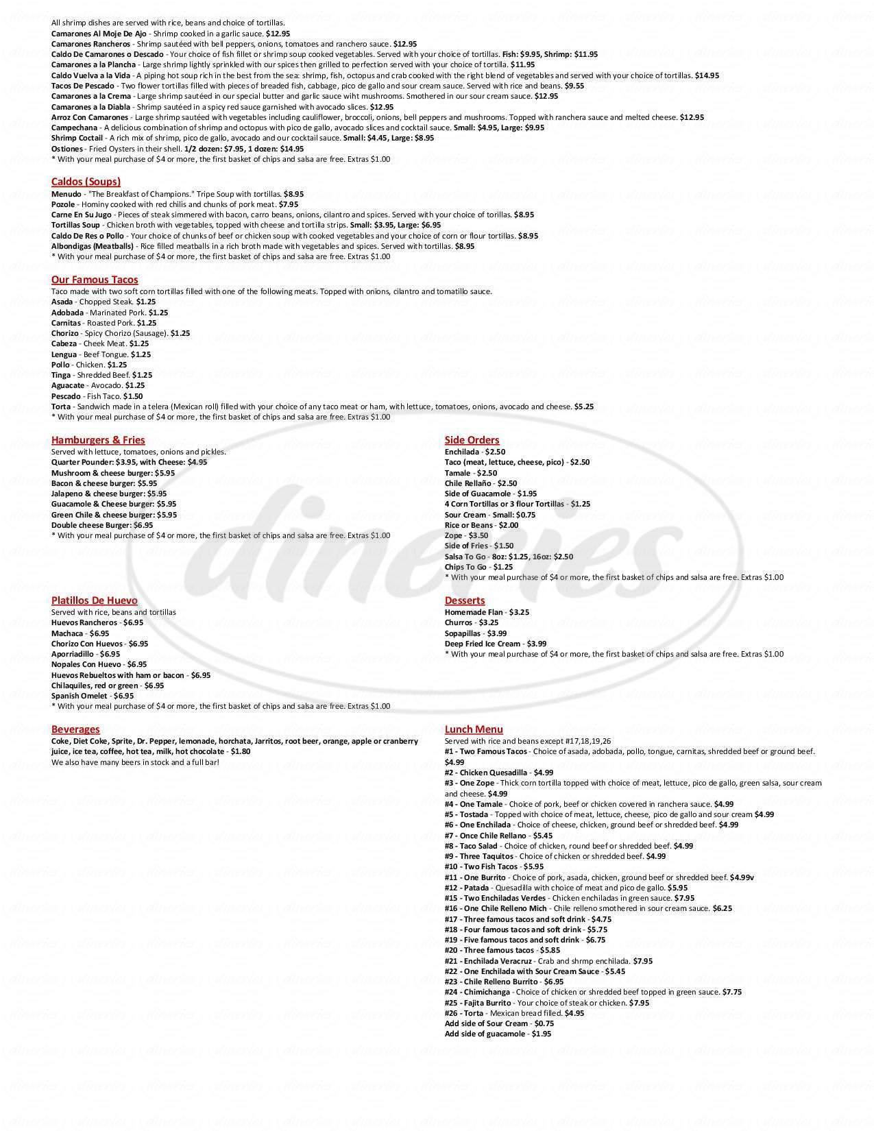 menu for El Gallo Giro