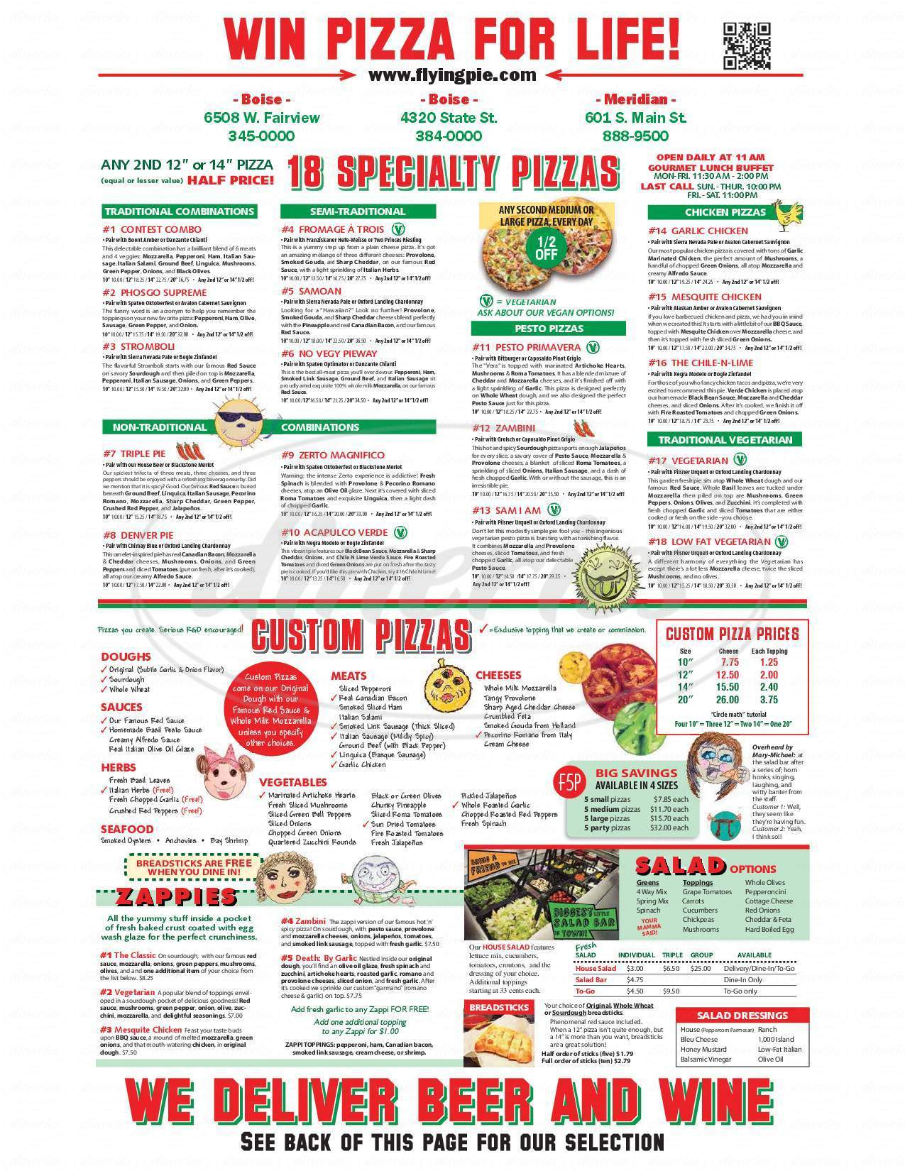 menu for Flying Pie Pizzaria