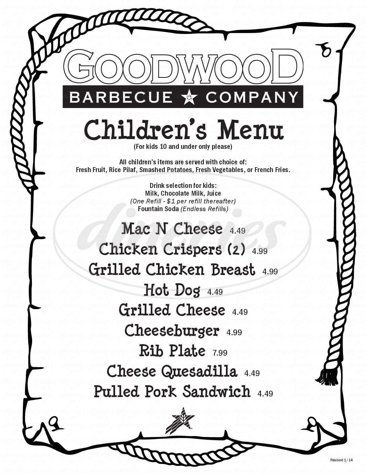 menu for Goodwood Barbecue Restaurant