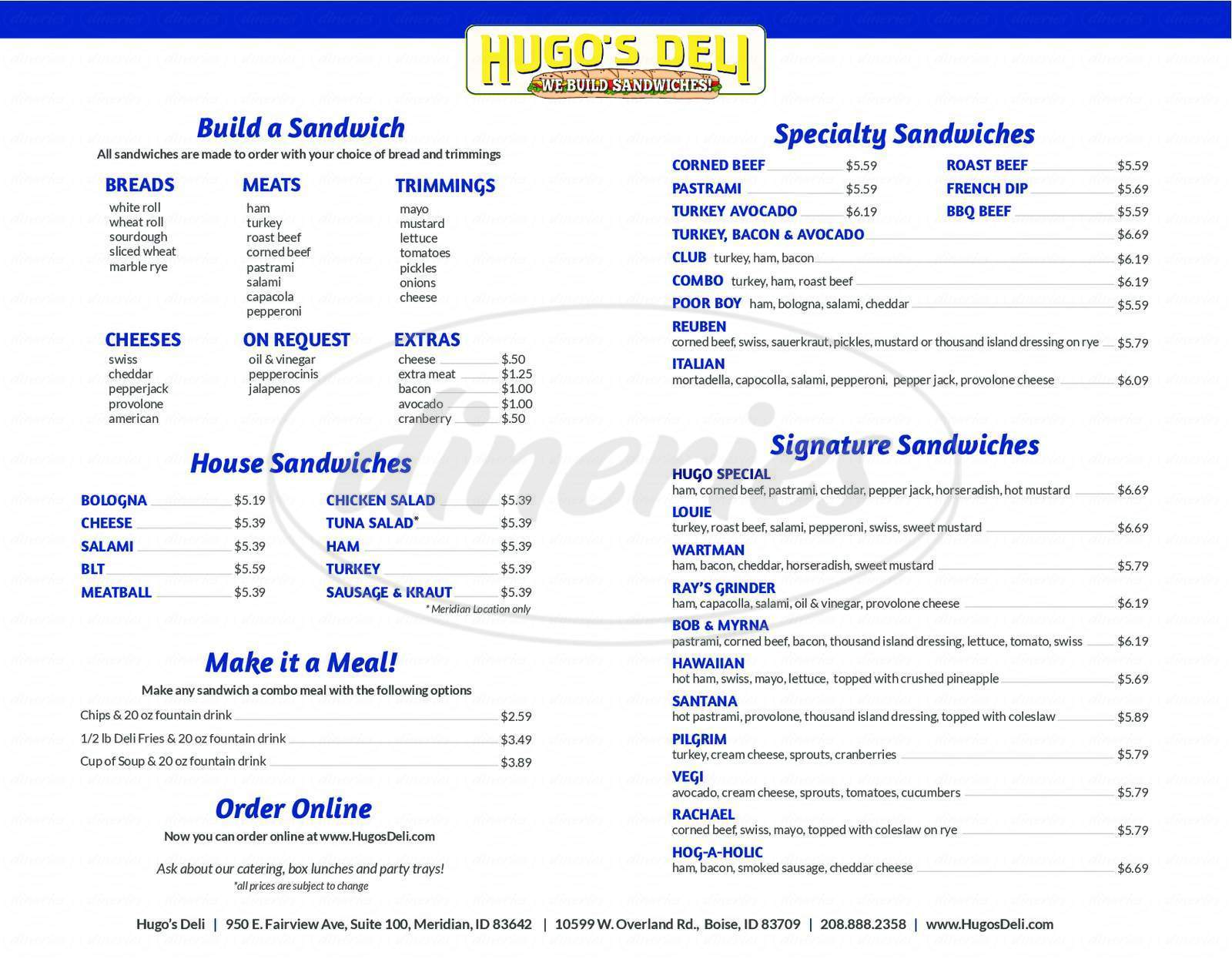 menu for Hugo's Deli