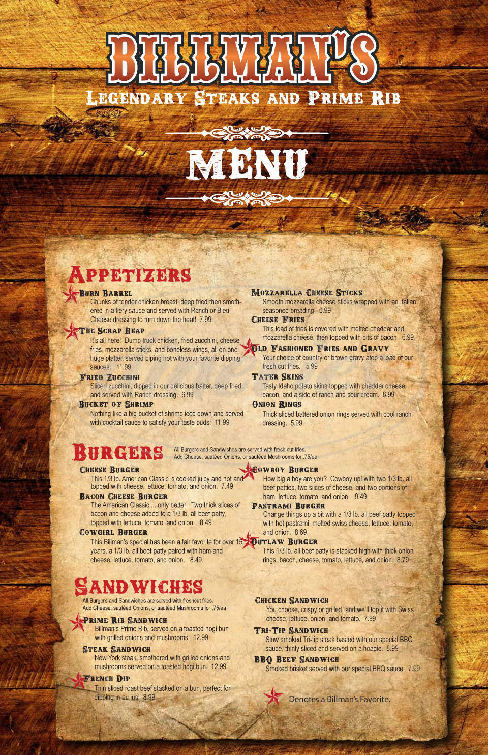 menu for Billman's