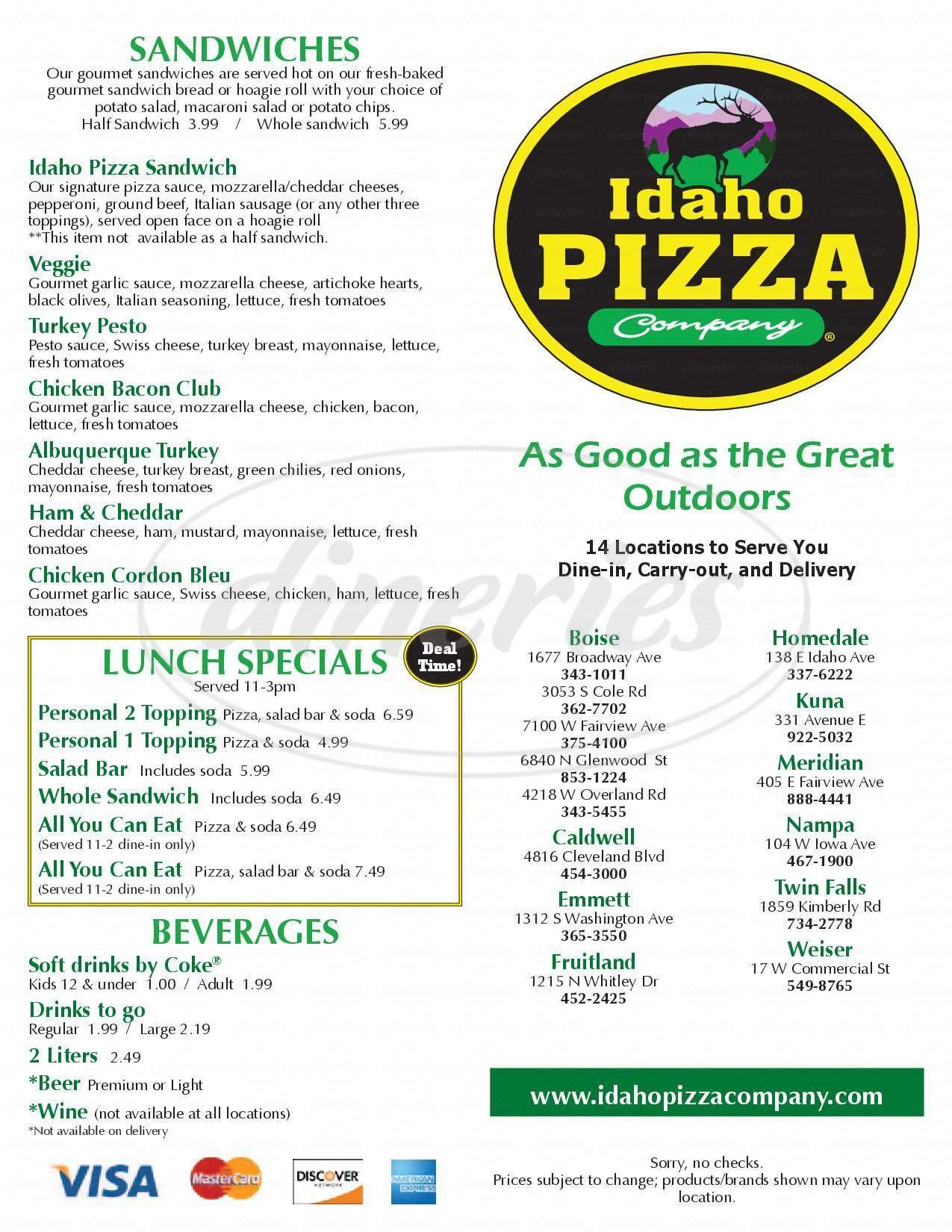 menu for Idaho Pizza Company