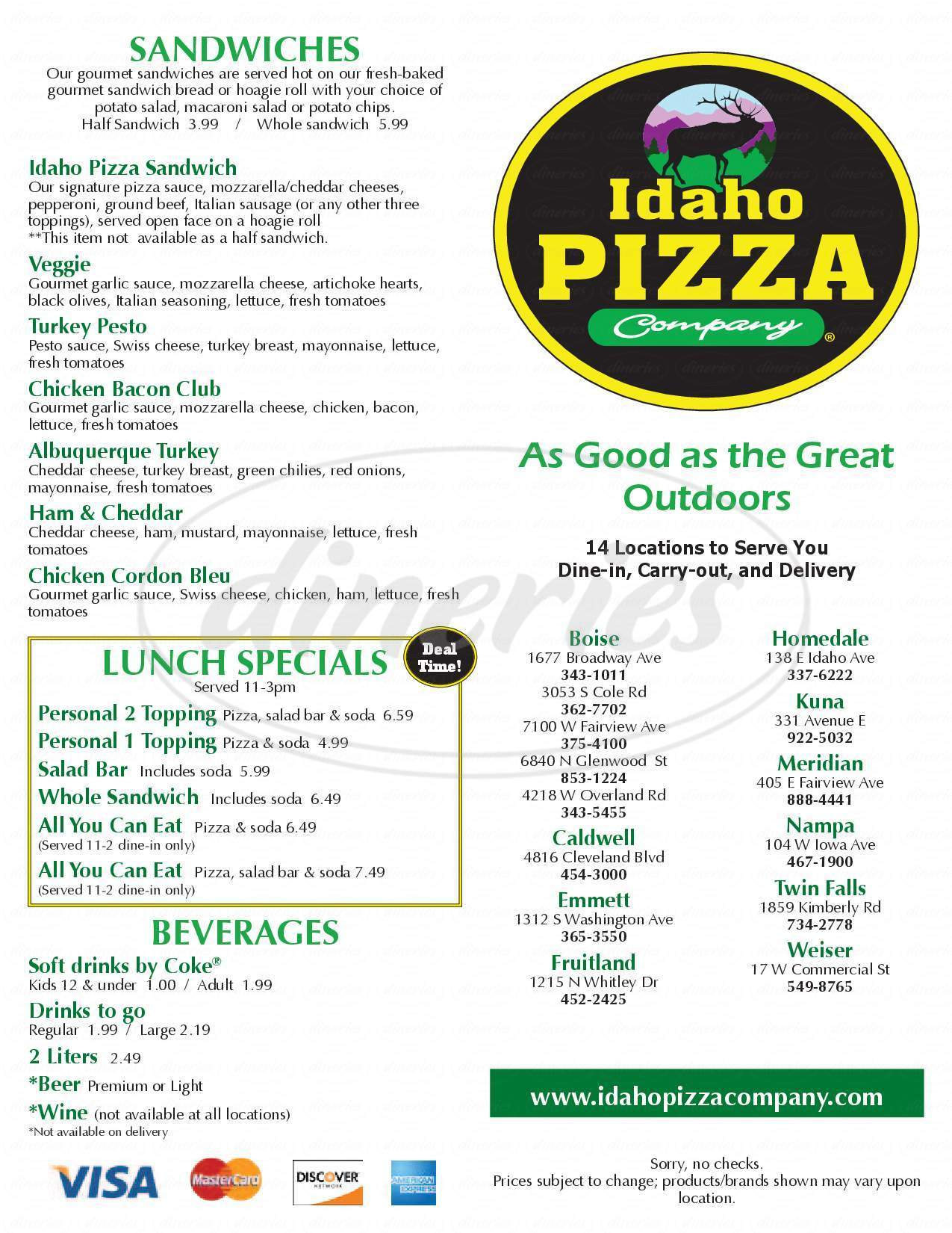 menu for Idaho Pizza Company