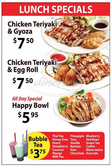 menu for Happy Teriyaki
