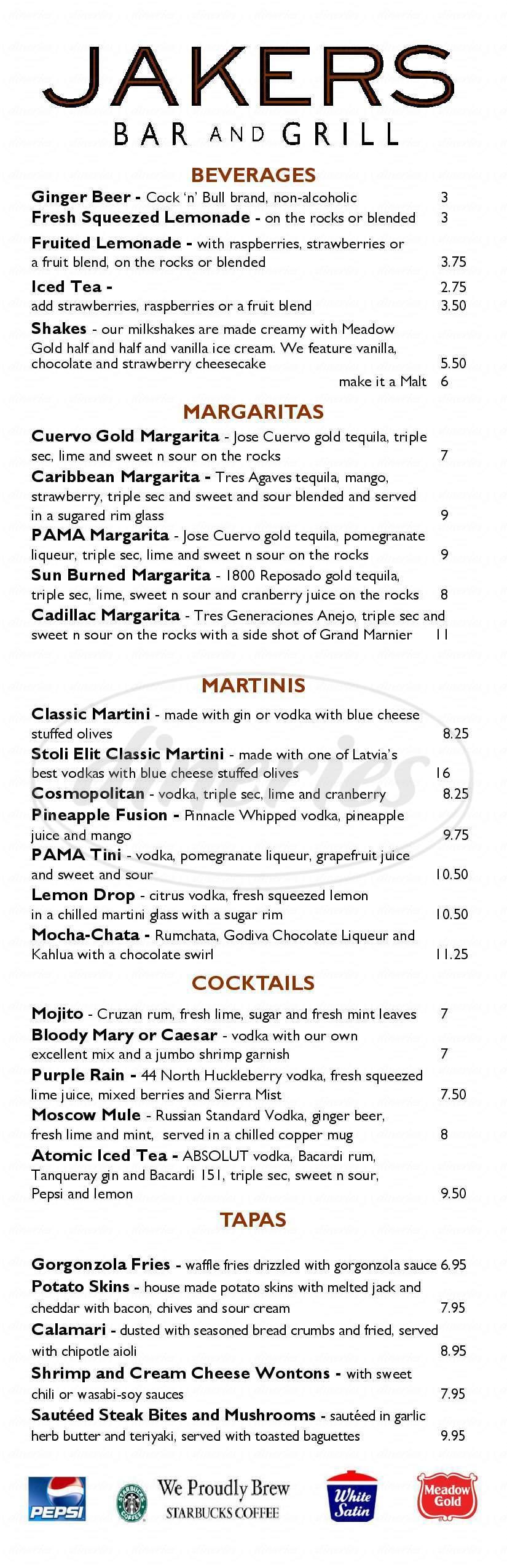 menu for Jakers Bar & Grill