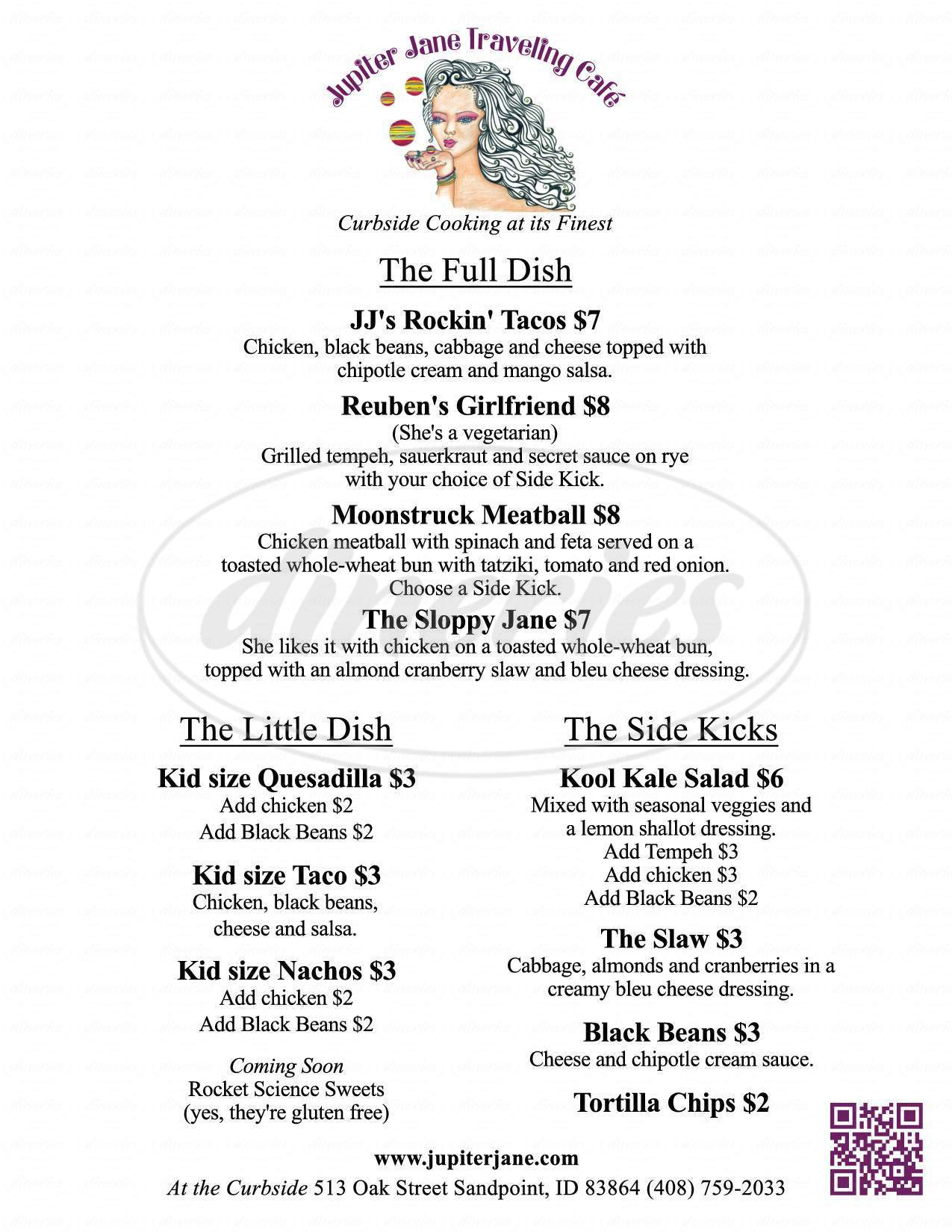 menu for Jupiter Jane Traveling Cafe