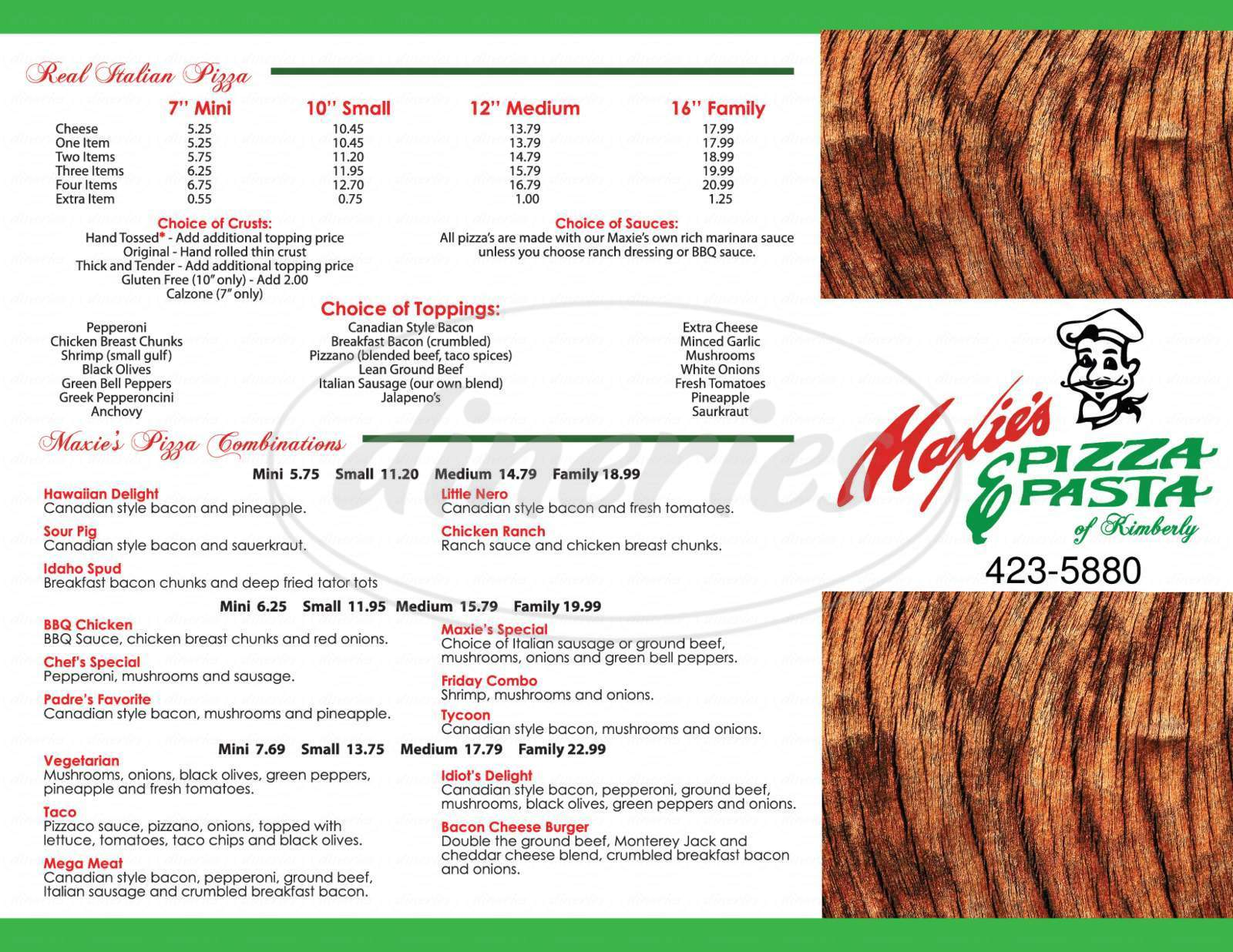menu for Maxie's Pizza & Pasta of Kimberly