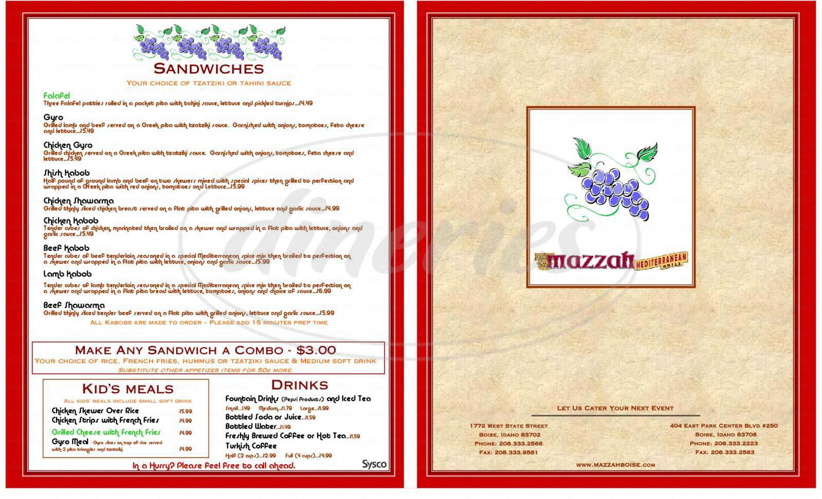 menu for Mazzah Mediterranean Grill