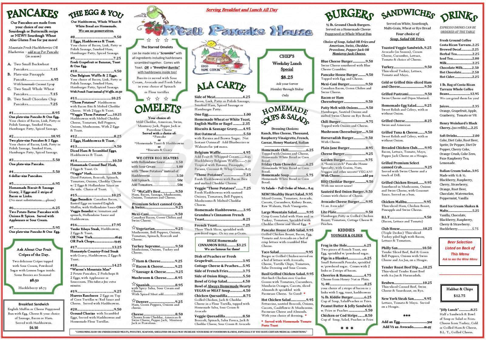 menu for Pancake House the Restaurant