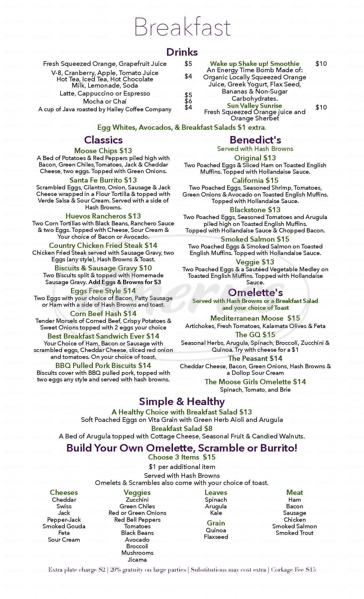 menu for The Moose Girls Cafe
