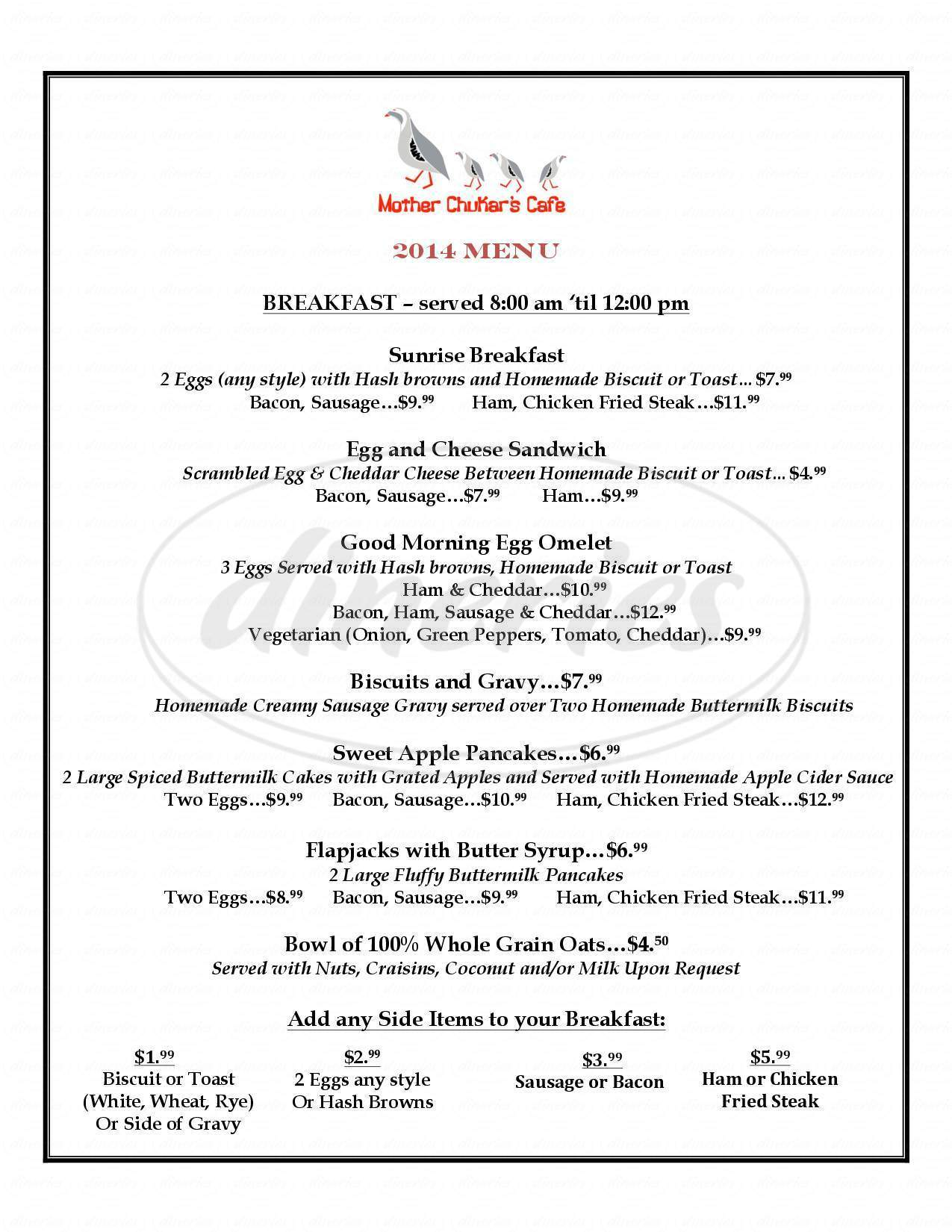 menu for Mother Chukars Cafe At Booker's Retreat