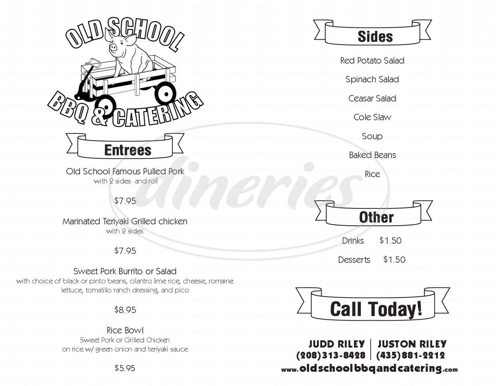 menu for Old School BBQ & Catering