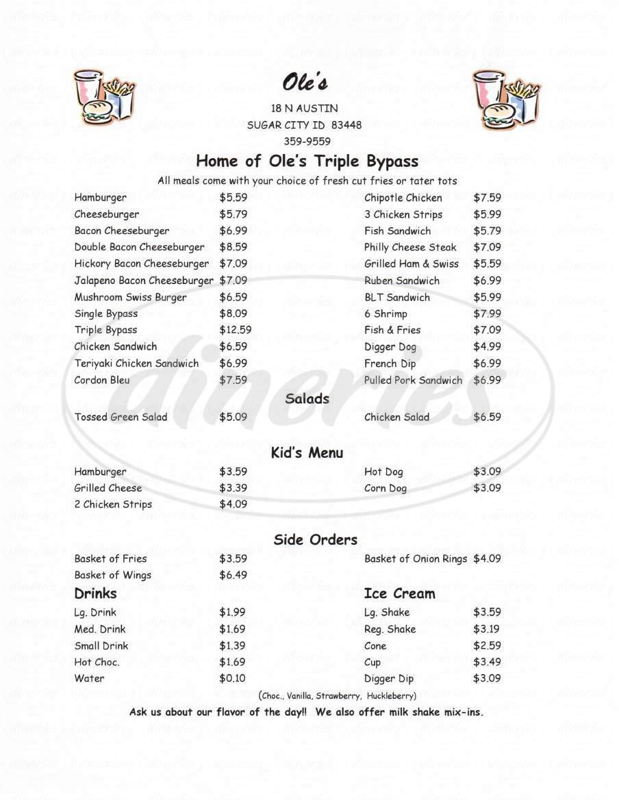 menu for Ole's