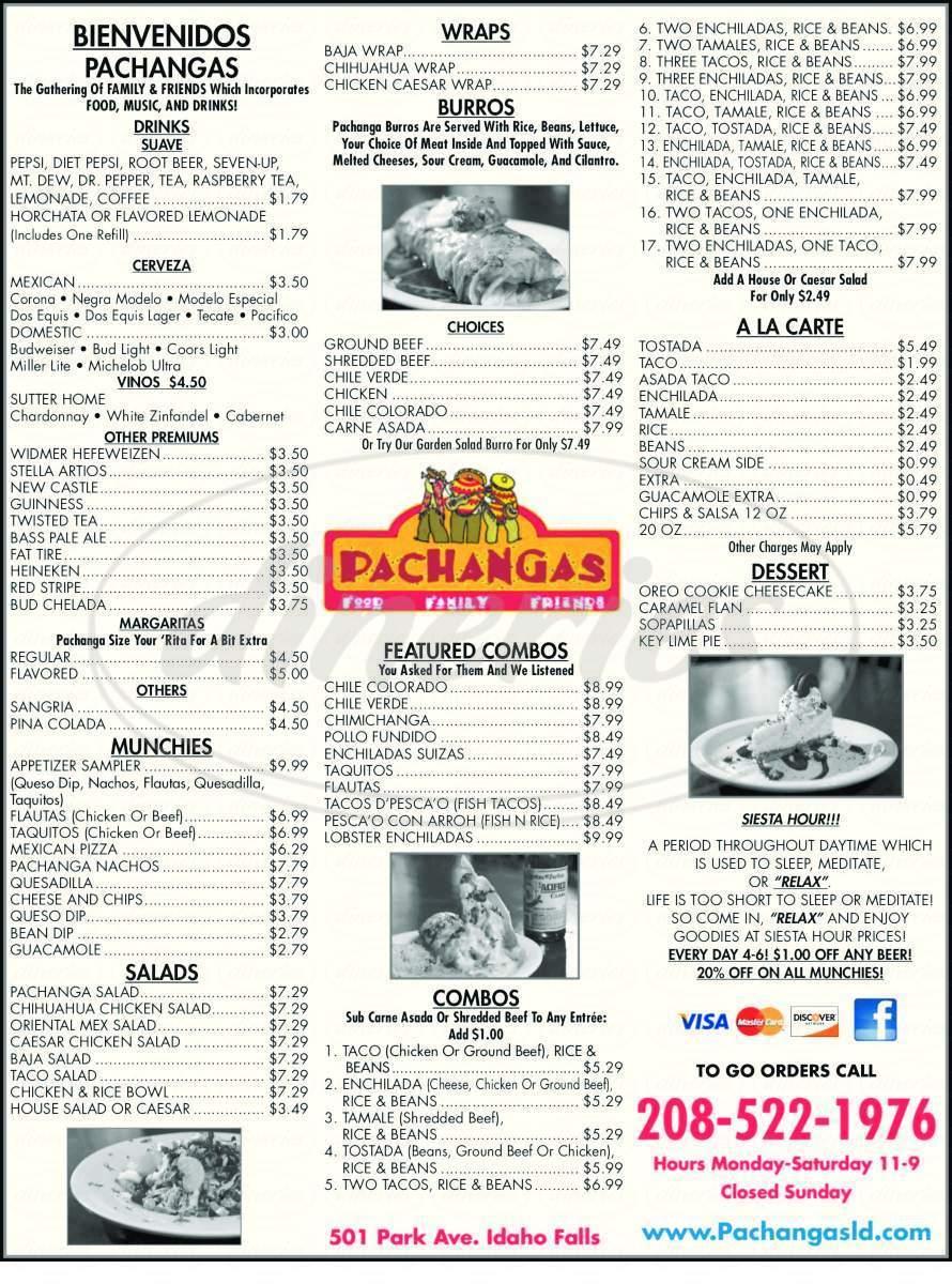 menu for Pachangas