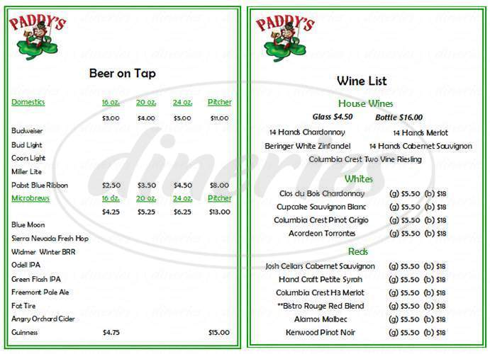 menu for Paddy's Sports Bar