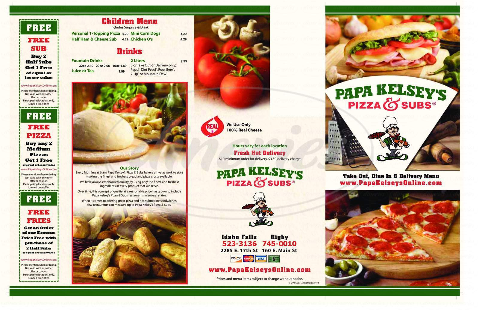 menu for Papa Kelsey's Pizza & Subs