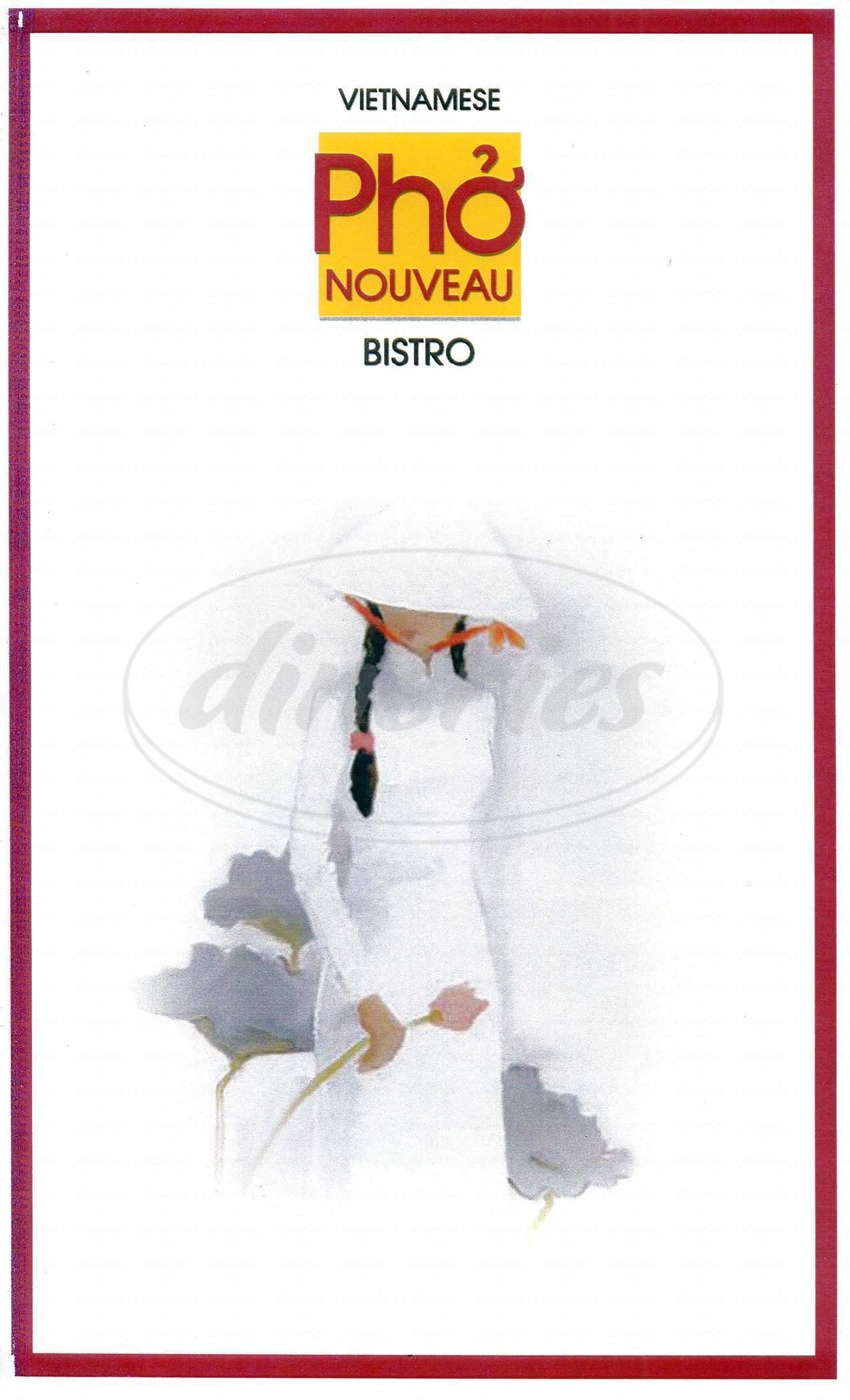 menu for Pho Nouveau