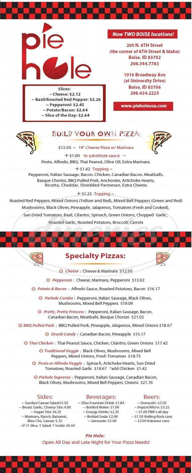 menu for Pie Hole Pizza