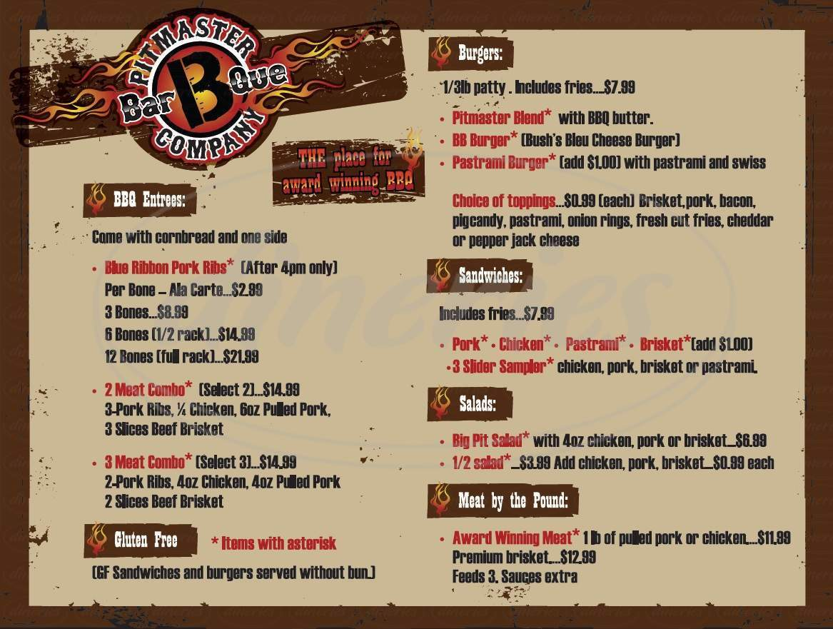 menu for Pitmaster BarBQue Company