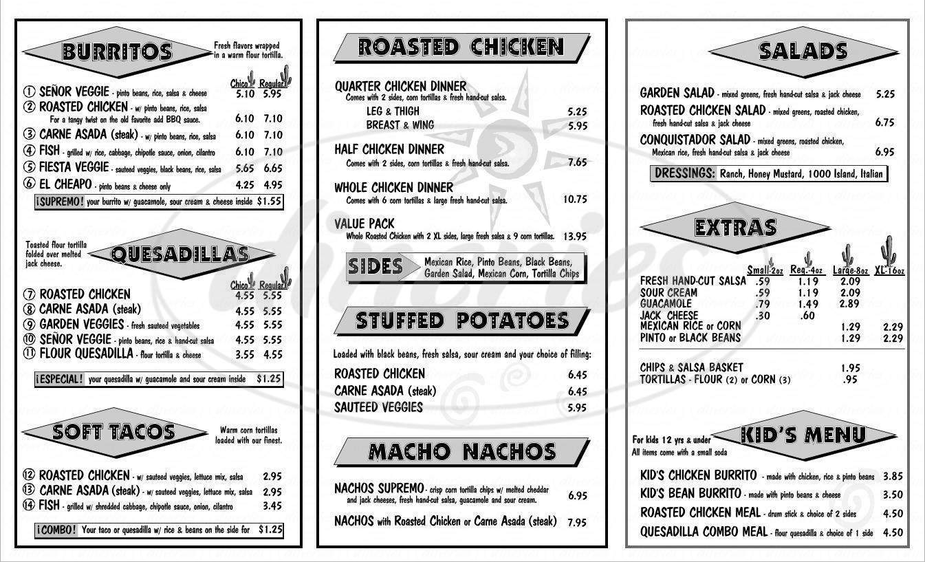 menu for Pollo Rey Mexican Rotisserie