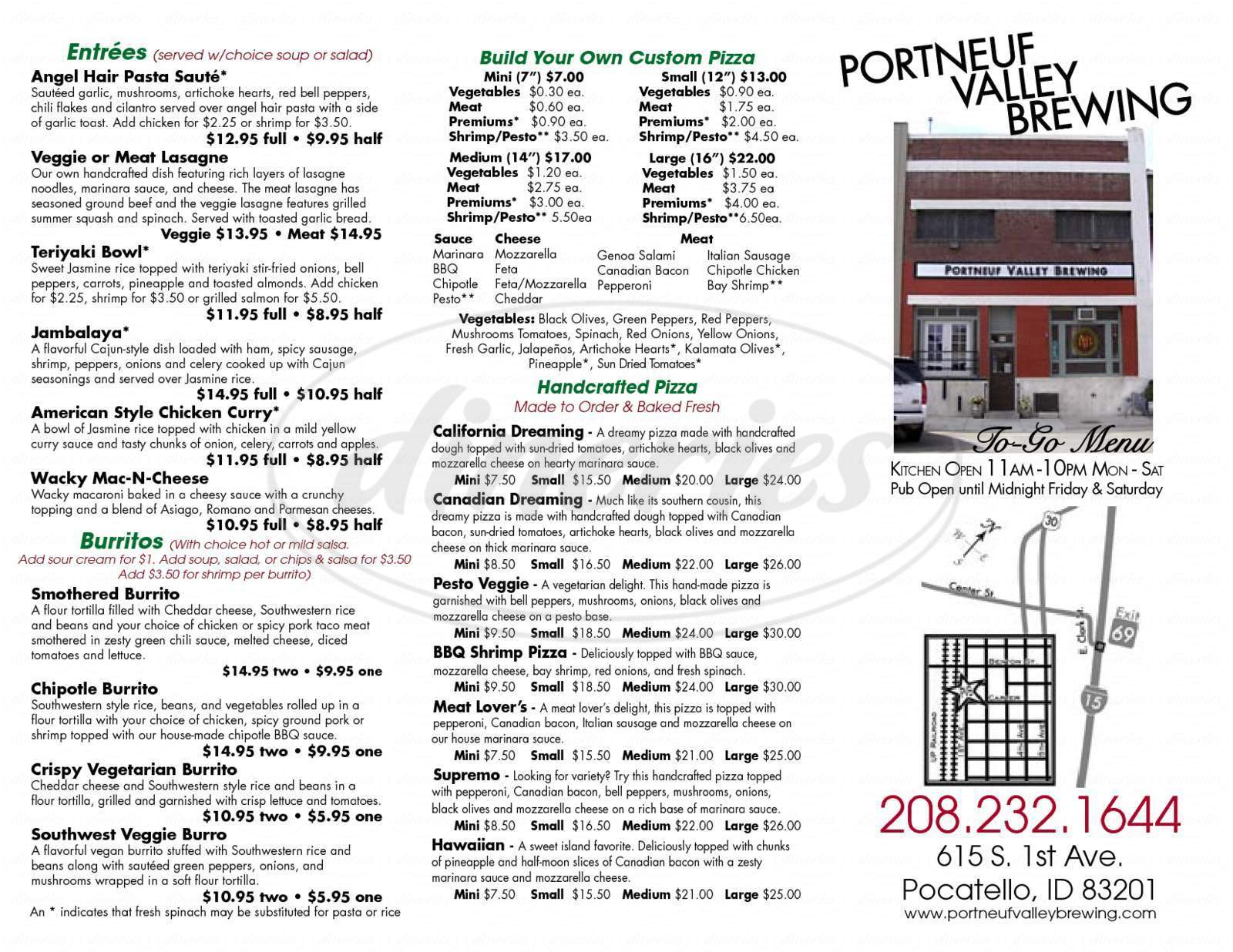 menu for Portneuf Valley Brewing