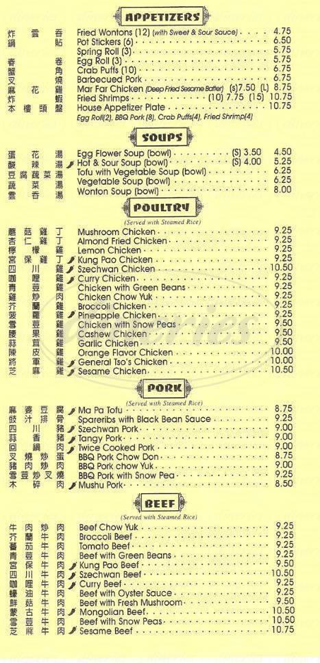 menu for Mandarin Palace