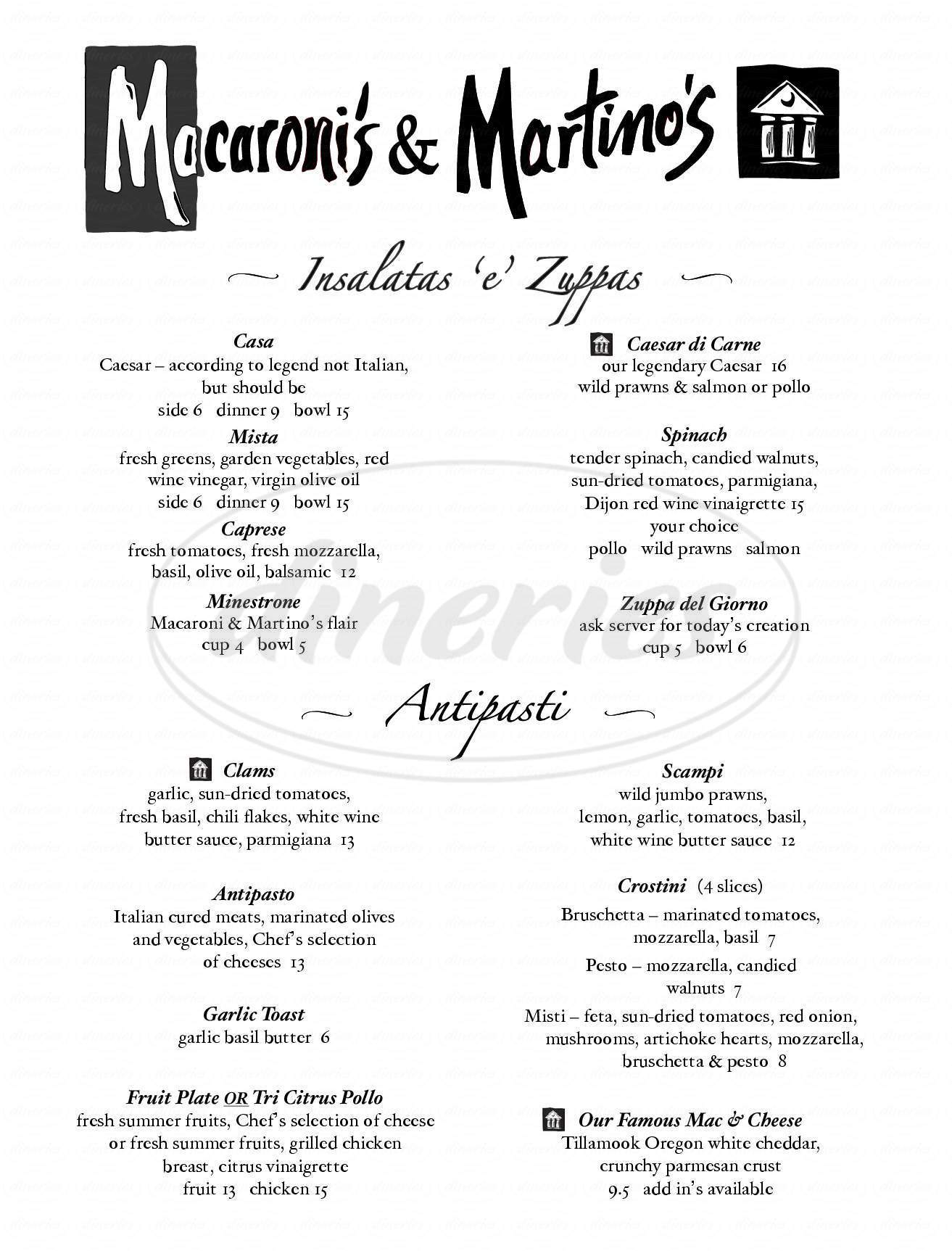 menu for Macaroni's/Martino's