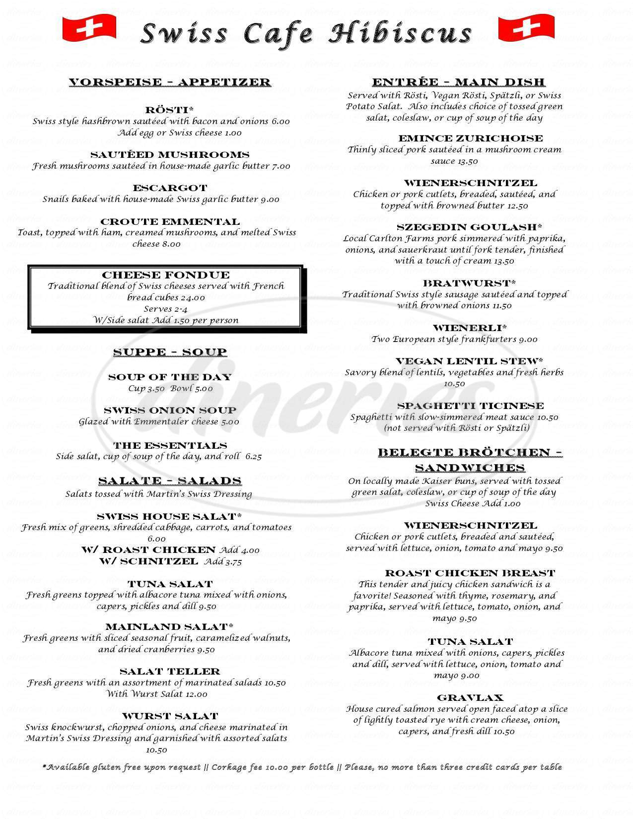 menu for Cafe Hibiscus
