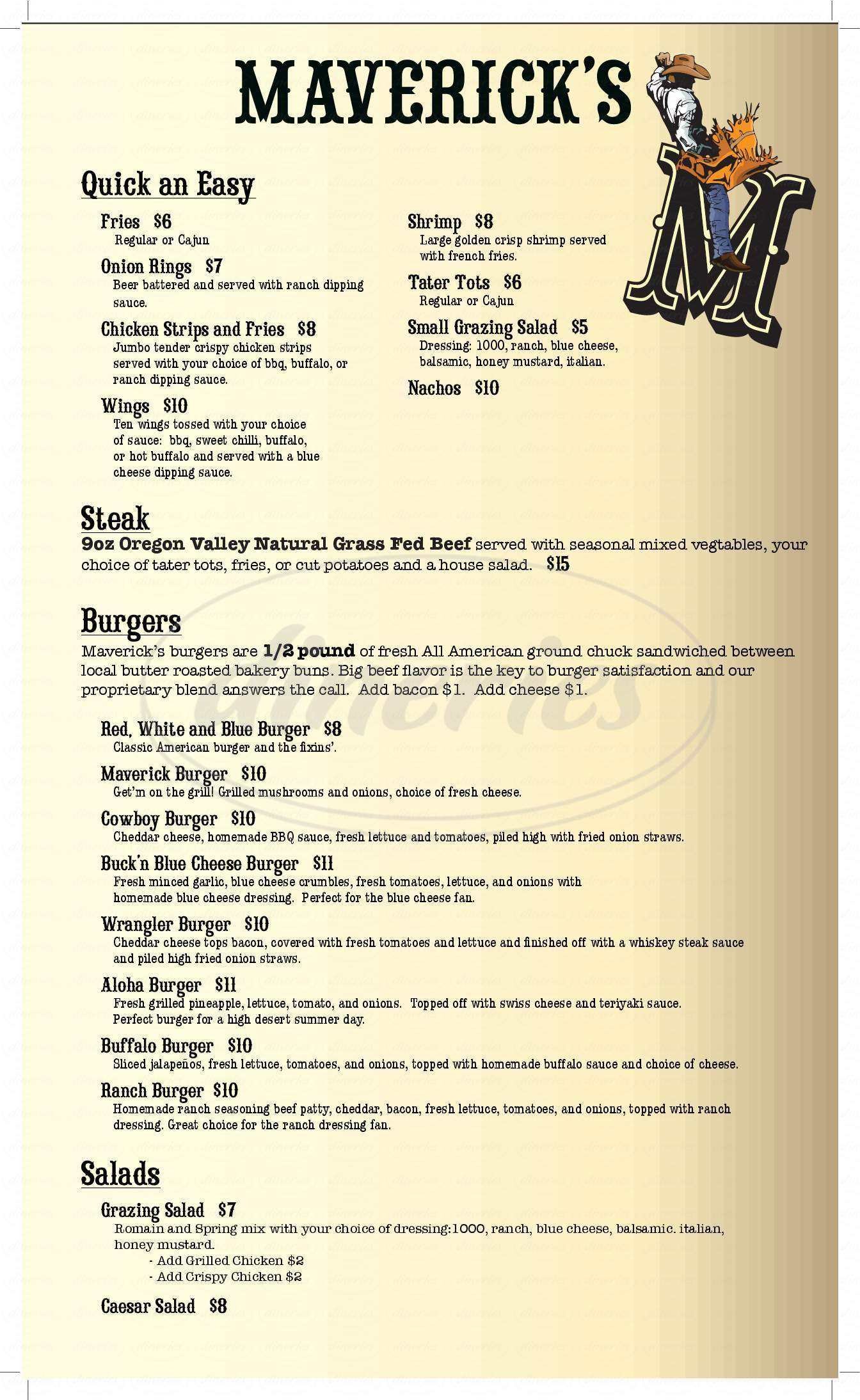 menu for Maverick's Country Bar and Grill