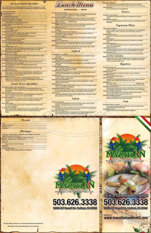 menu for Mazatlan Mexican Restaurant