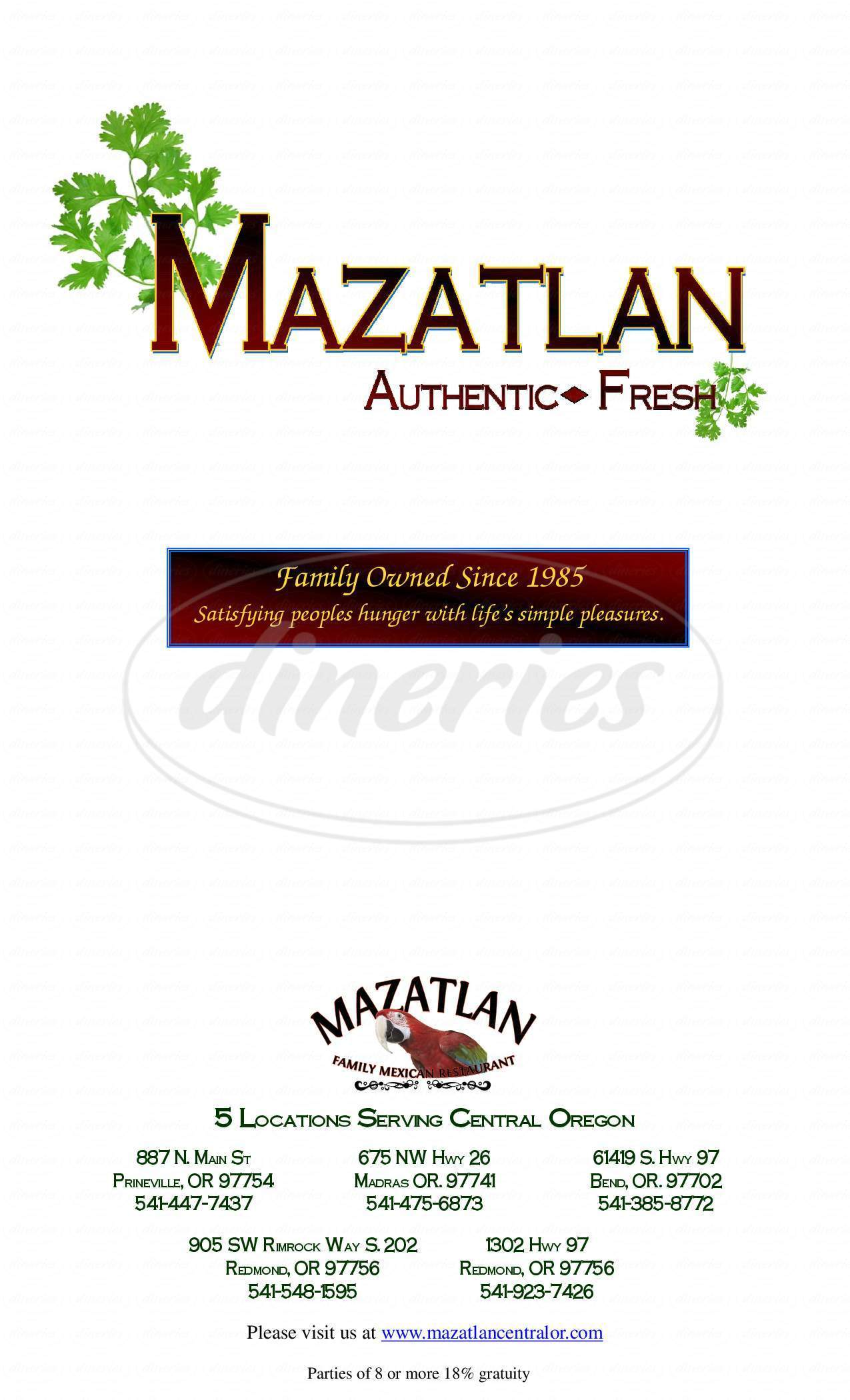 menu for Mazatlan Mexican Restaurant
