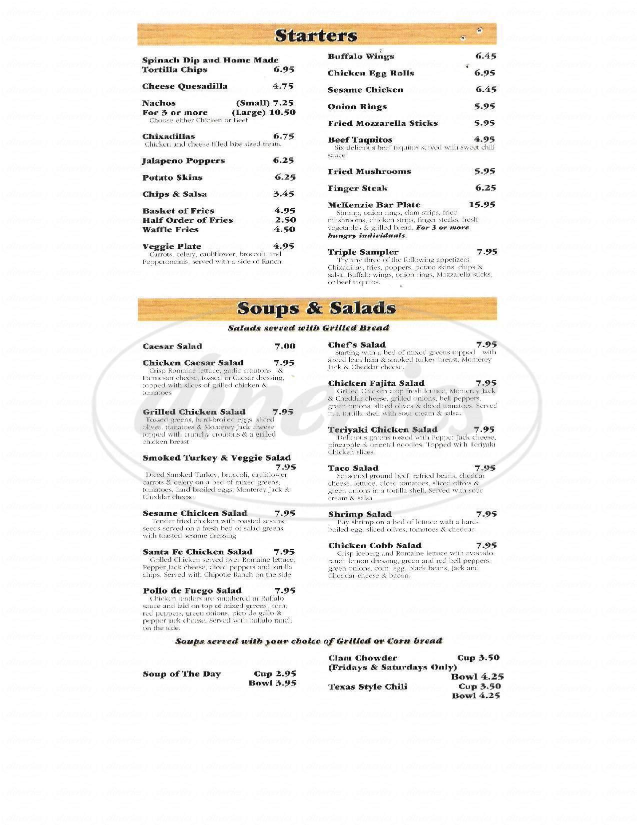 menu for McKenzie Pub
