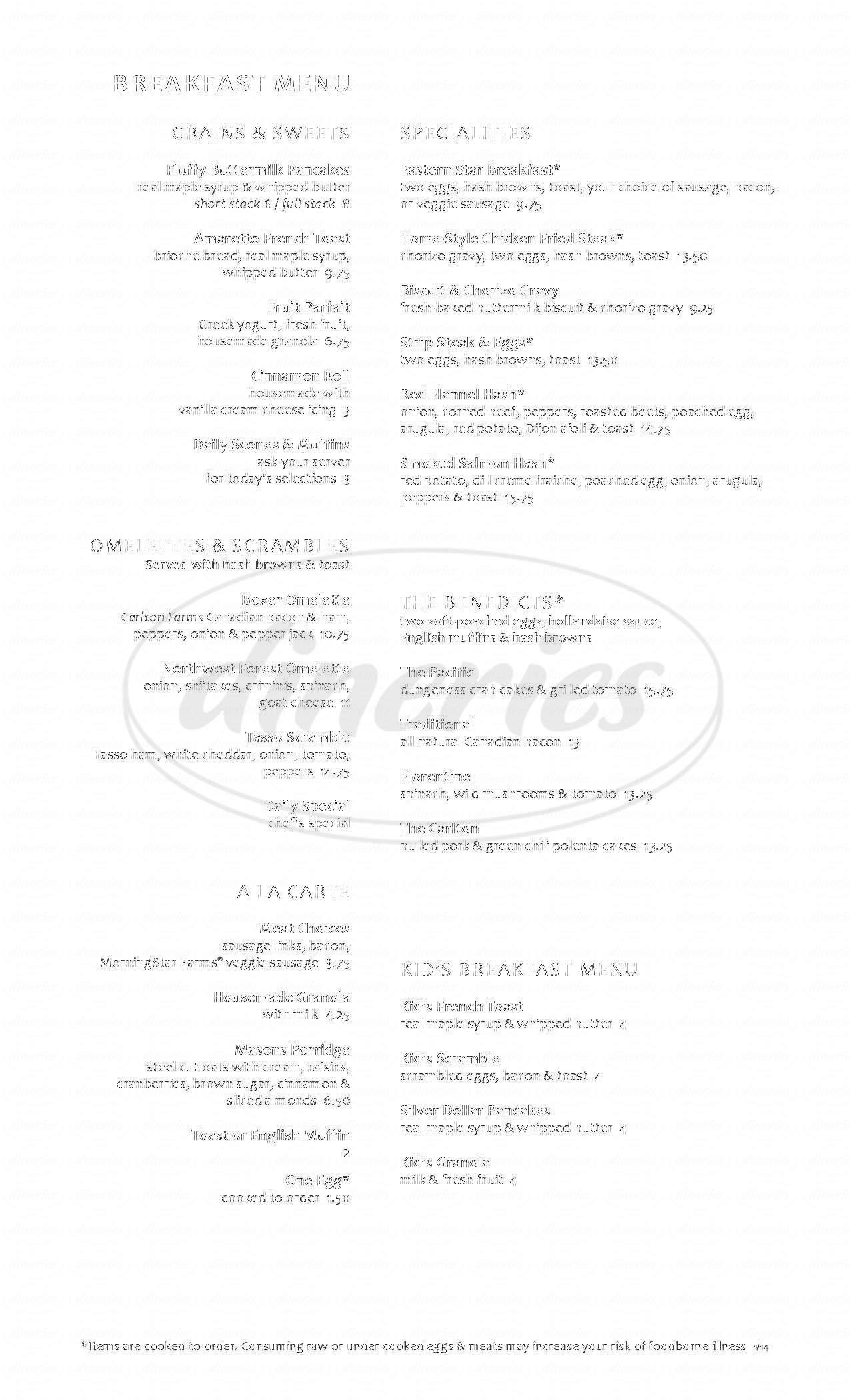 menu for McMenamins Ironwork Grill