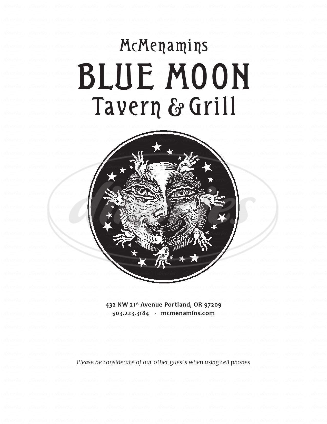 menu for McMenamins Blue Moon Tavern & Grill