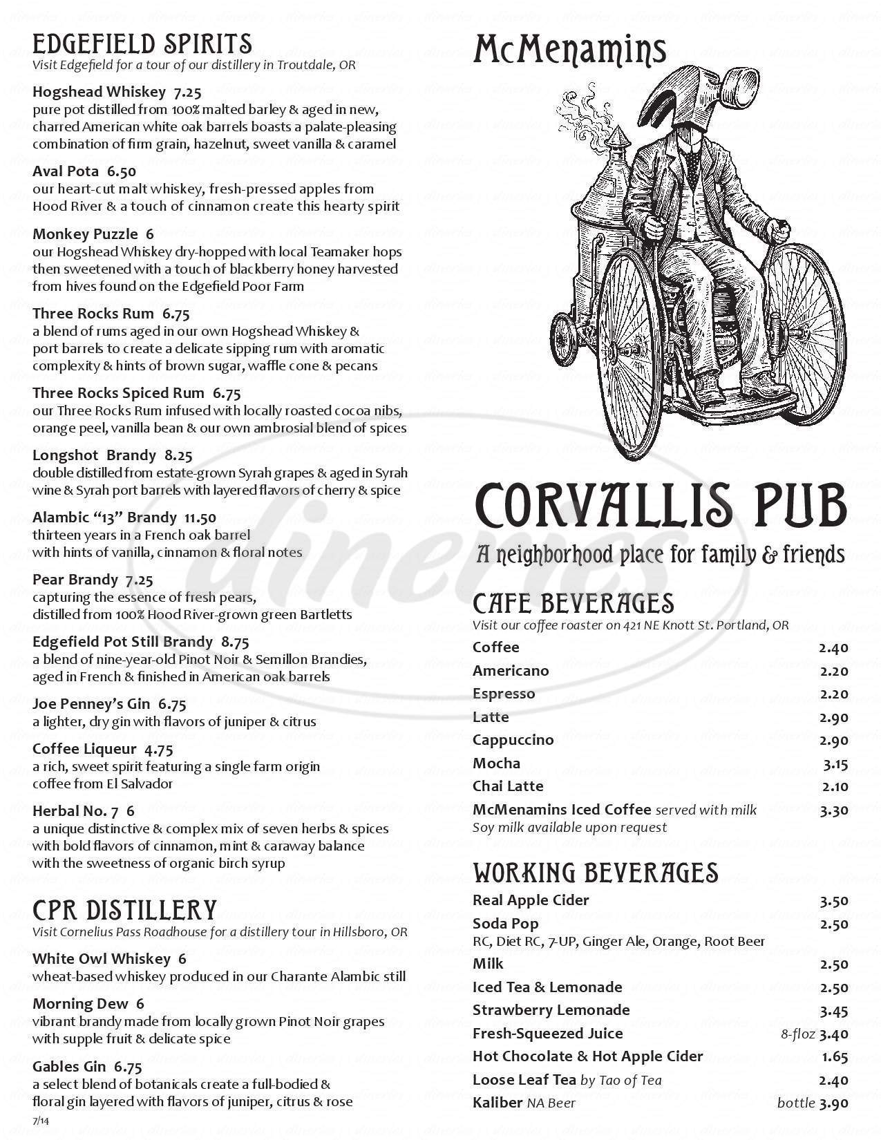 menu for McMenamins Corvallis Pub