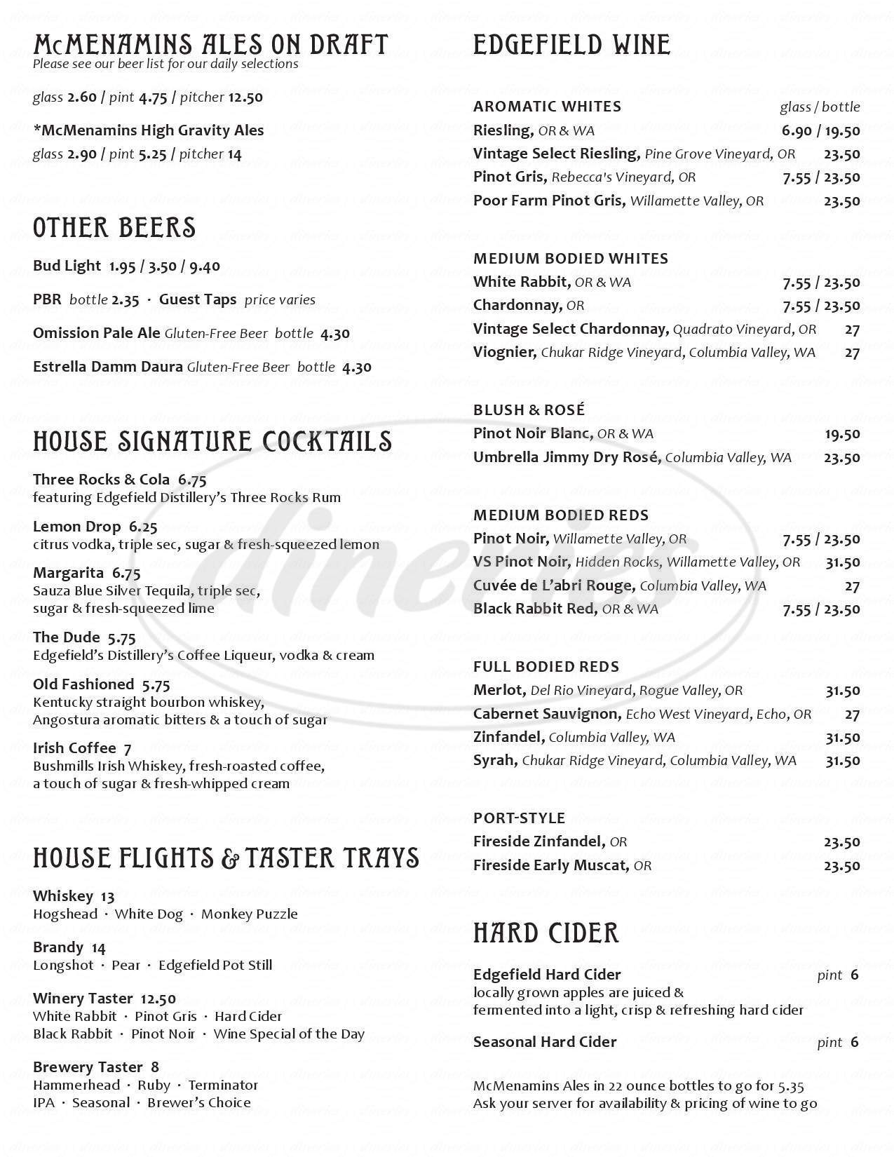 menu for McMenamins Fulton Pub & Brewery