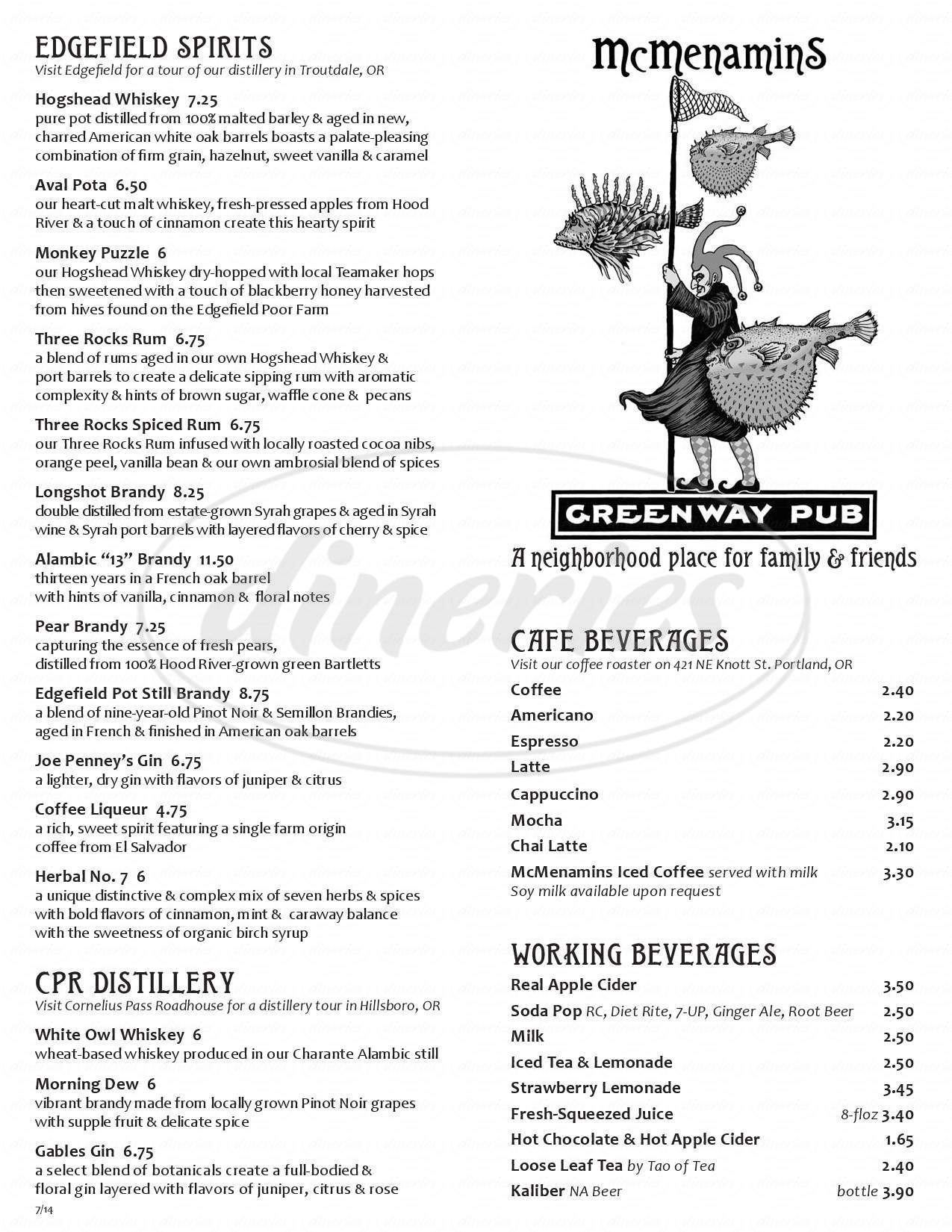 menu for McMenamins Greenway Pub