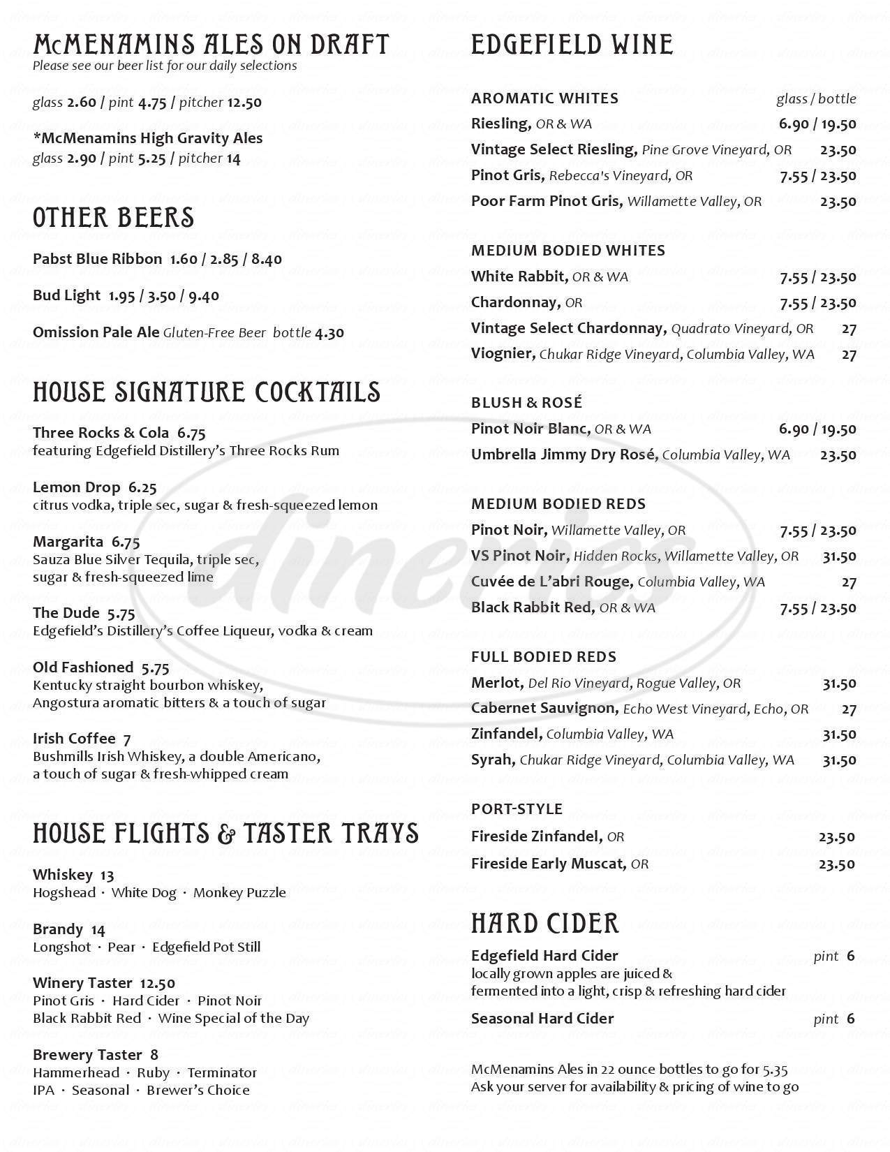 menu for Highland Pub & Brewery