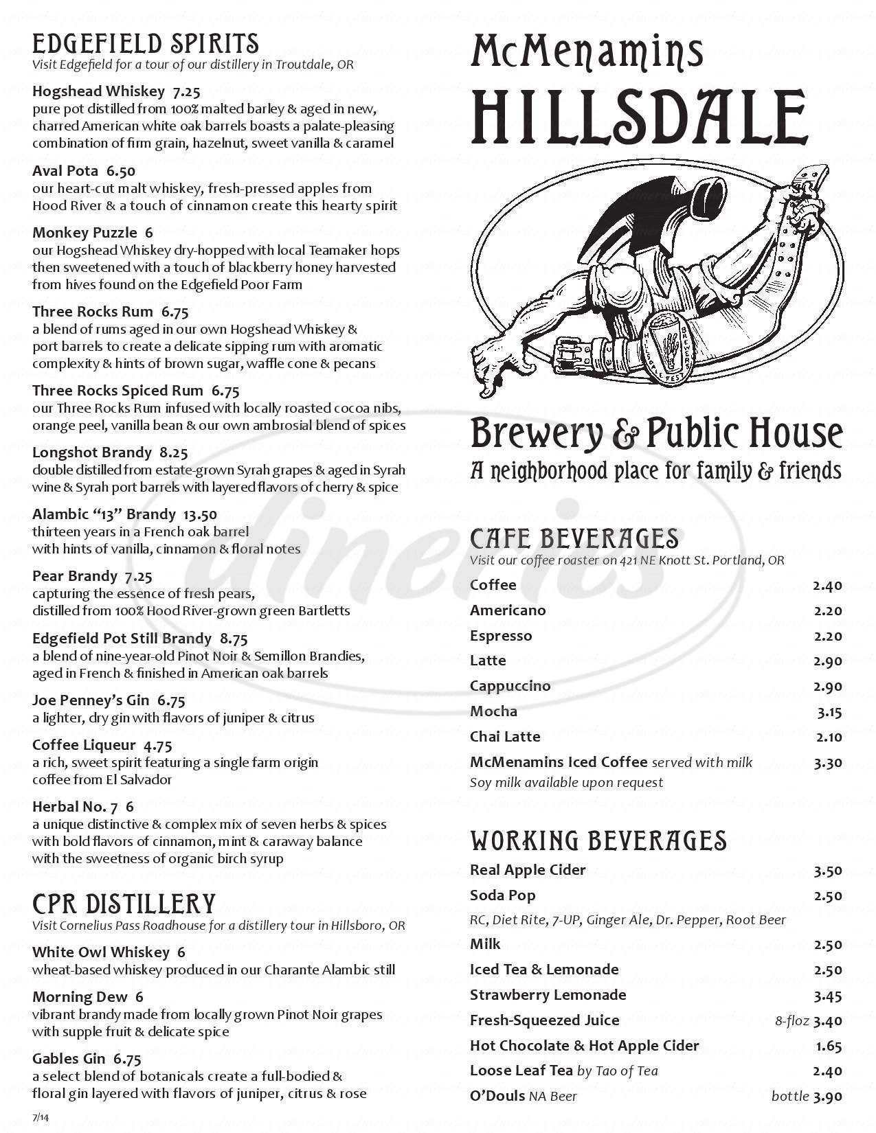 menu for McMenamins Hillsdale Brewery & Public House