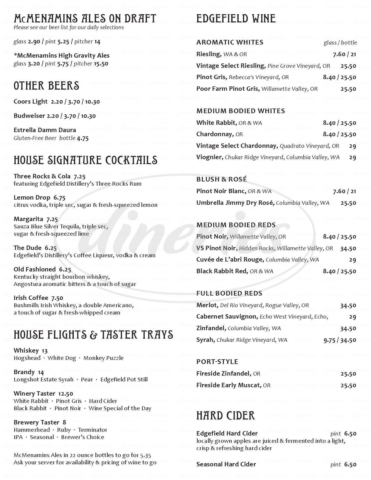 menu for McMenamins Lighthouse Brewpub