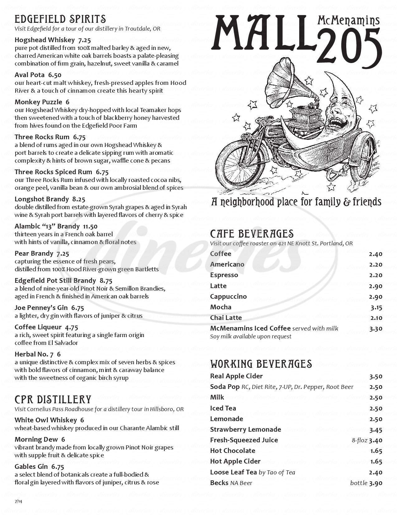 menu for McMenamins Mall 205 Pub