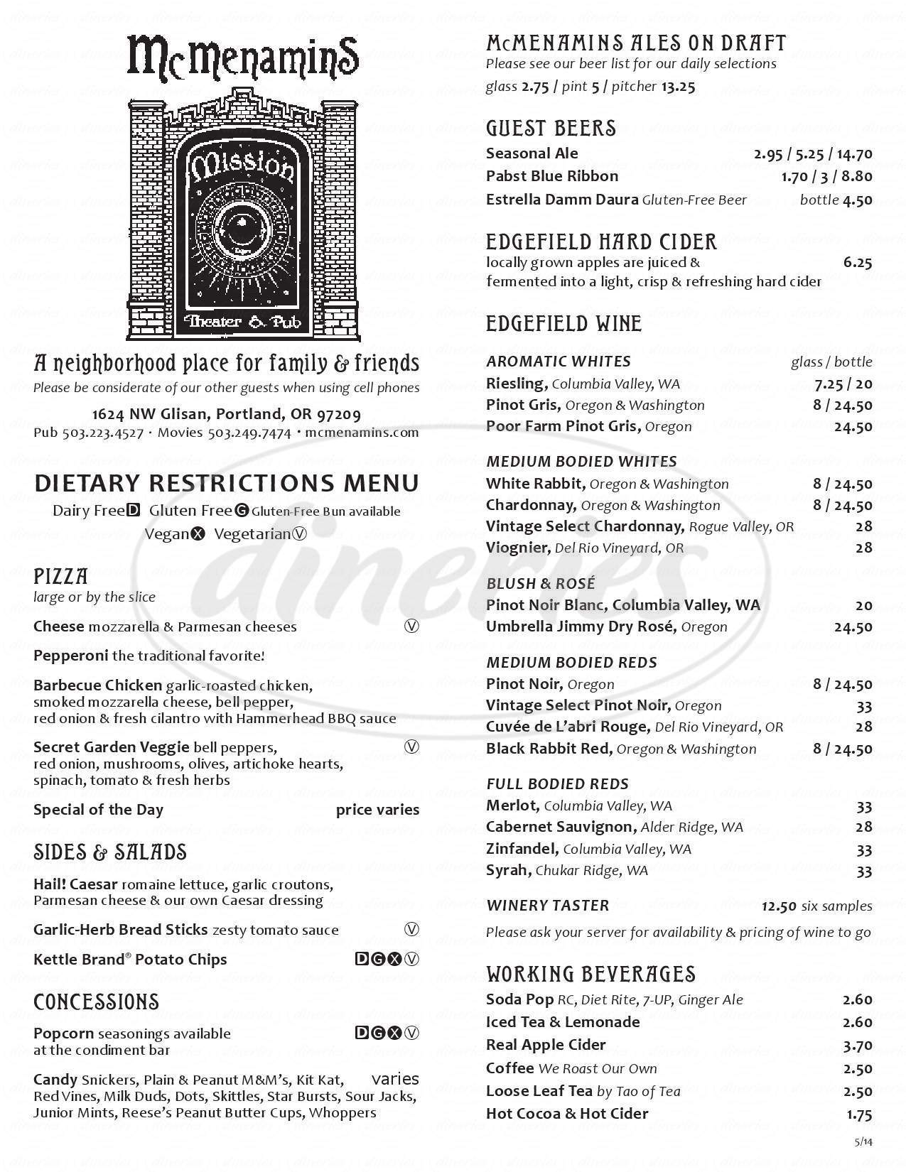 menu for Mission Theater