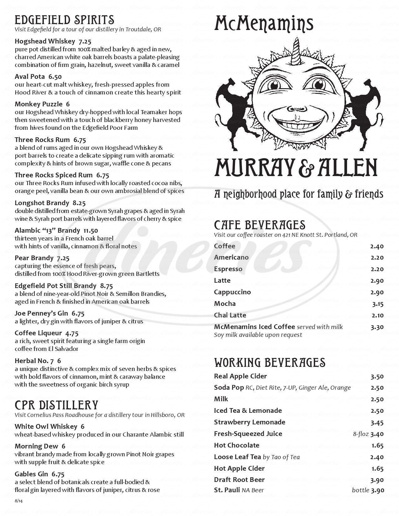 menu for McMenamins Murray & Allen Pub